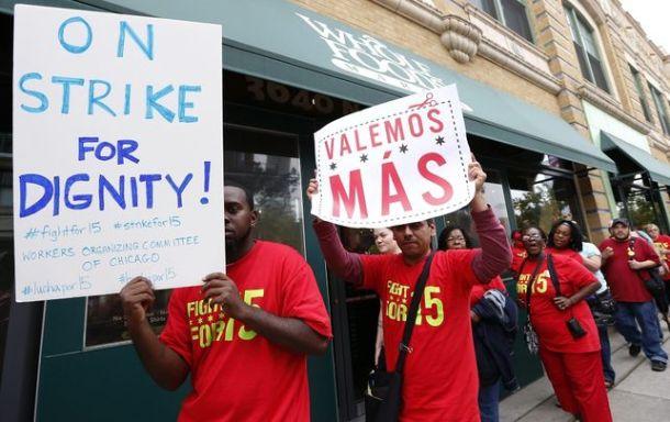 Protesta Chicaco comida rápida